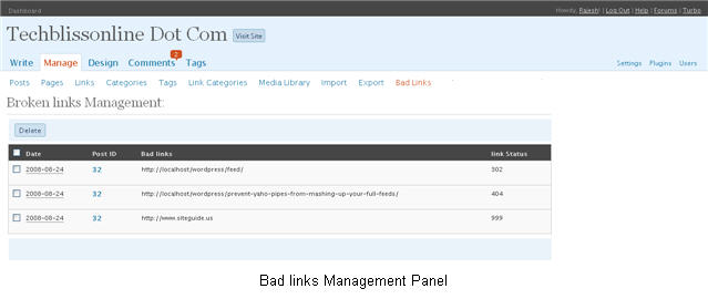 Broken links remover plugin manage panel