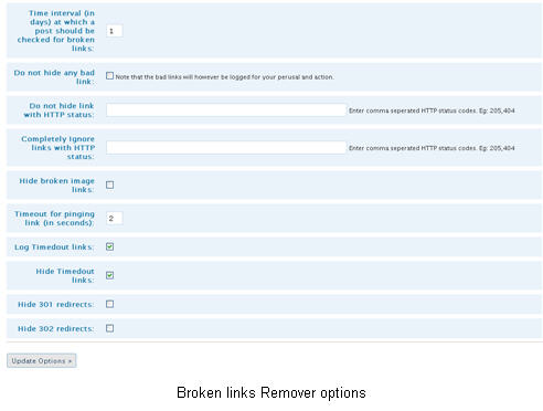 Broken links remover plugin options panel