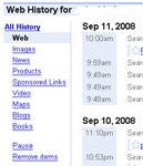 Pause Google web history to generalize your searches