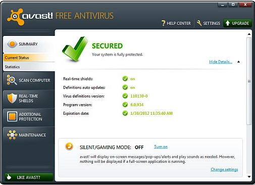 Updating virus definitions and avast antivirus program version.