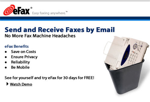 Send Fax Online through efax.com