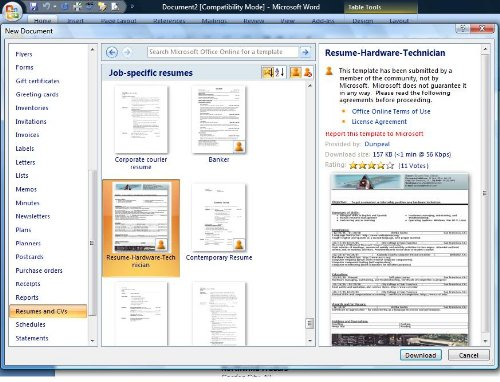free resume templates in microsoft word - Free Resume Download In Word Format