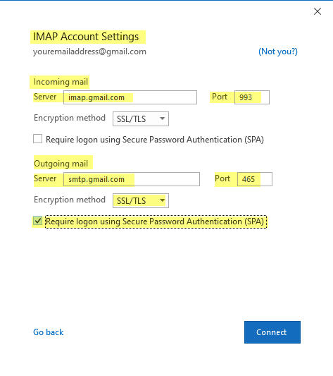 IMAP Account settings for Outllook to connect to Gmail Account using SSL