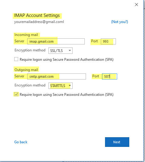 IMAP Account settings for Outllook to connect to Gmail Account using StartTLS