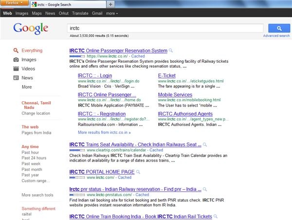 New layout of Google sitelinks