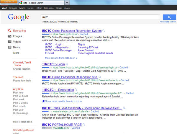 Old layout of Google sitelinks