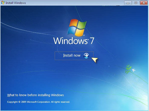 Install windows 7 on the PC