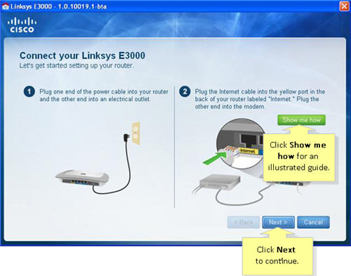 Linksys router internet setup