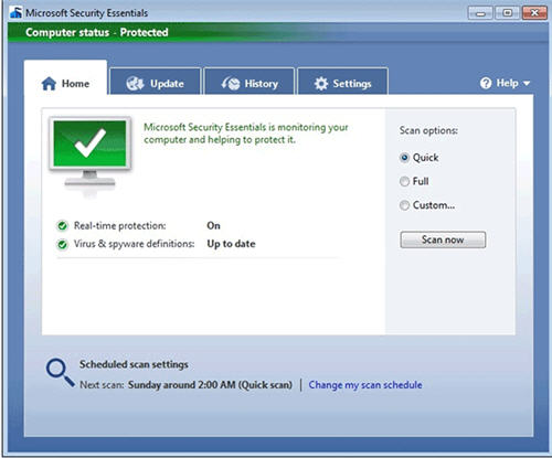 Download Microsoft Security Essentials for windows XP