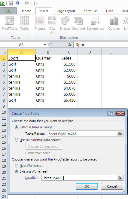 Pivot Table Wizard
