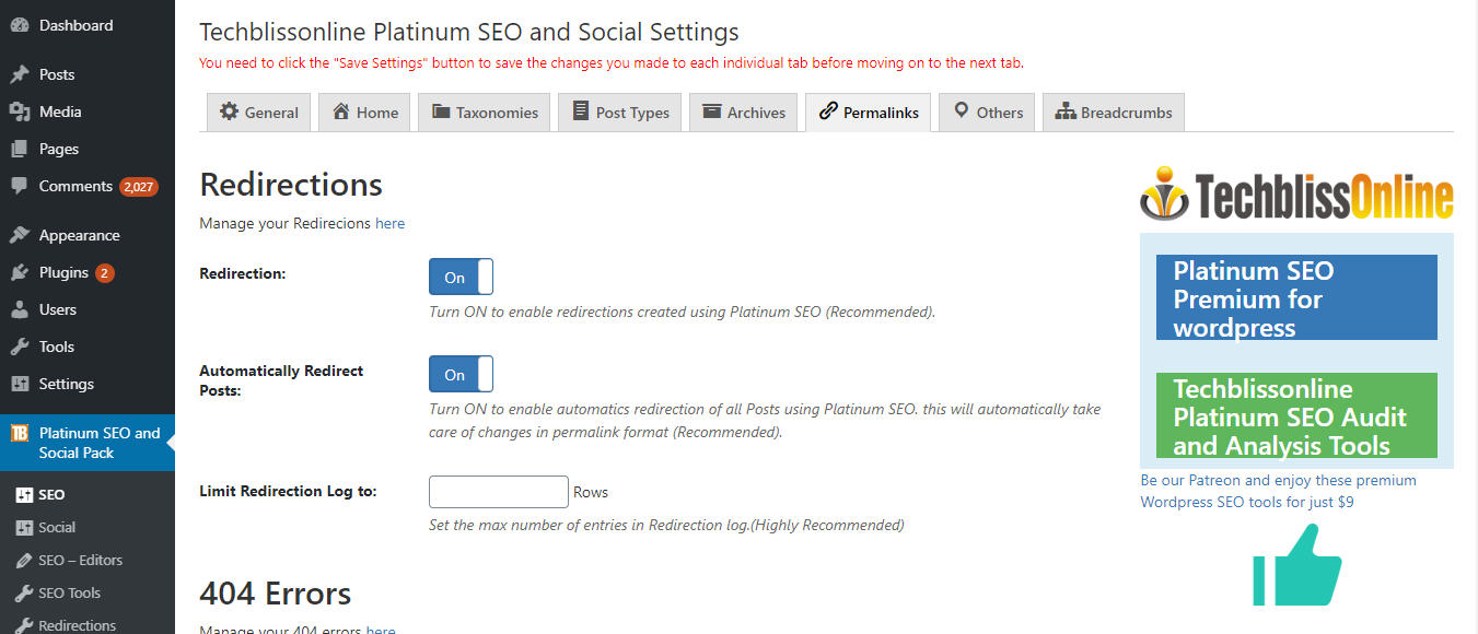 platinum-seo-redirections-settings
