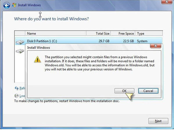 select partition to install windows 7