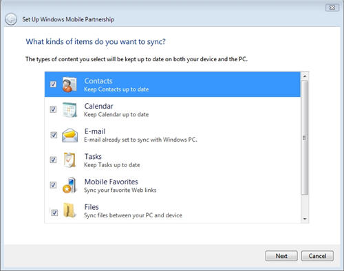 sync content to windows mobile device