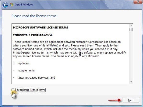 windows 7 license terms