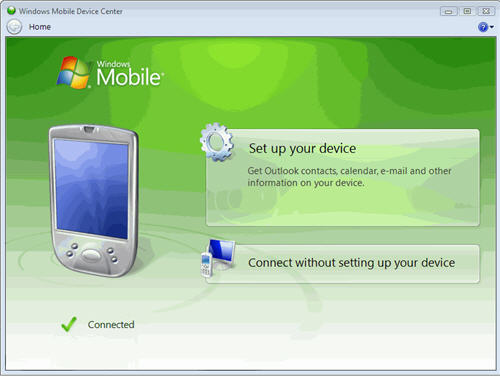 Setup Windows Mobile Device Center