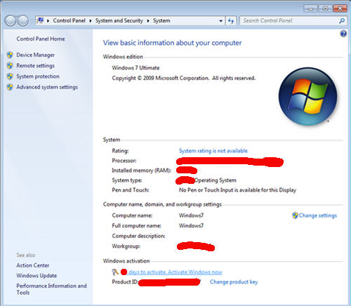Windows 7 activation link
