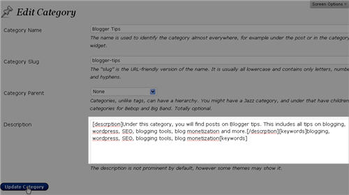 Wordpress Category Description